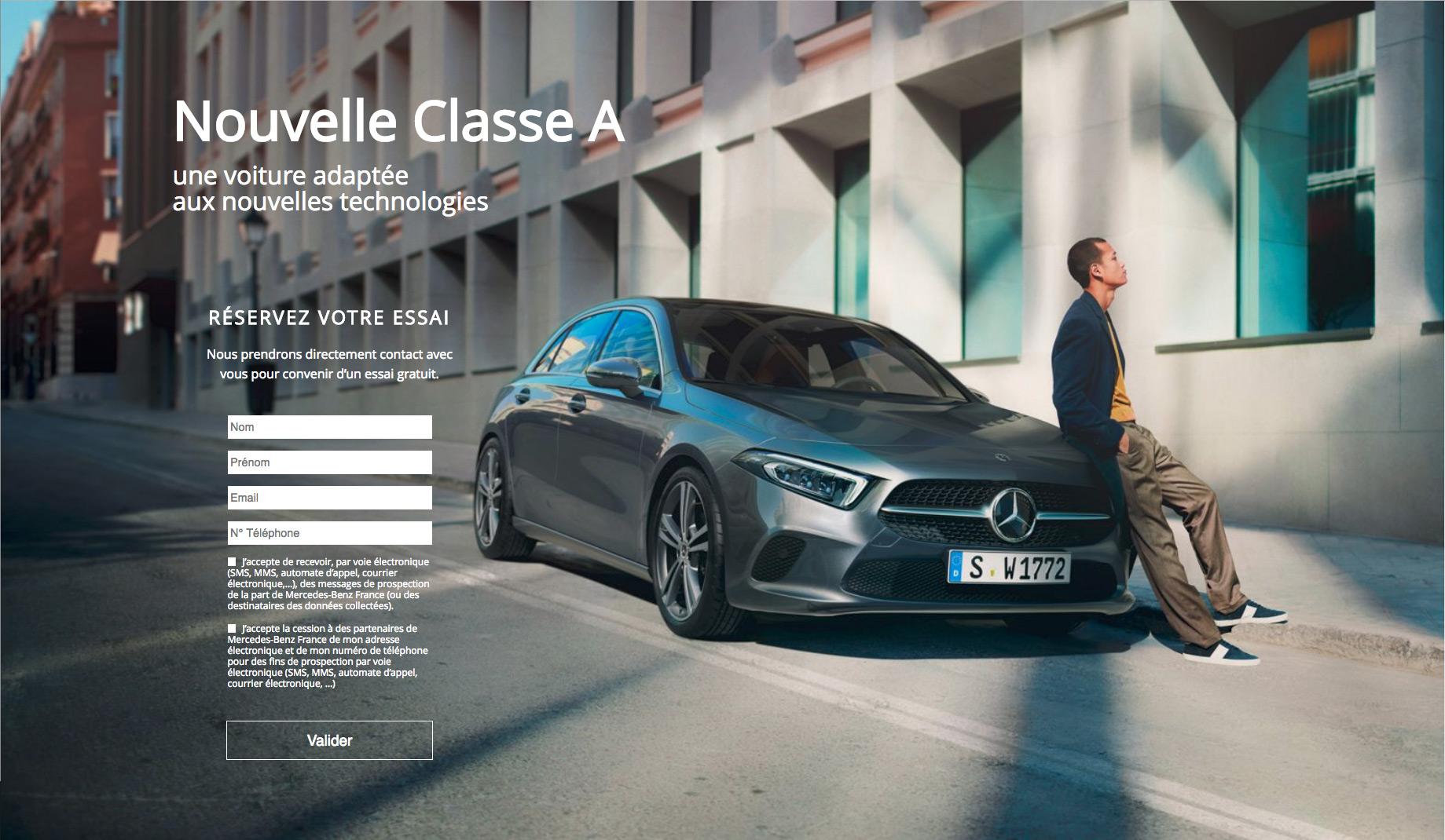 Landing page Mercedes